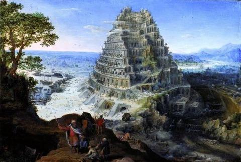 Lucas van Valckenborch, Construction de la Tour de Babel (1595)