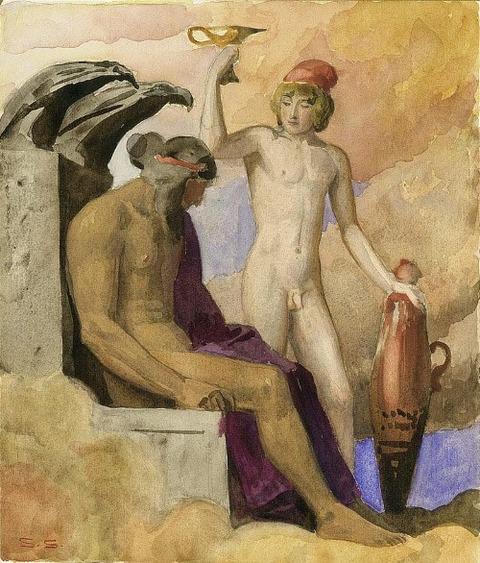Sascha Schneider (1870 - 1927) Zeus und Ganymed
