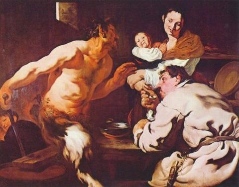 Satyr and the Peasant by Johann Liss, ca. 1618-19
