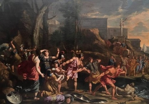 17th  Escape from Troy  School of Nicolas Poussin