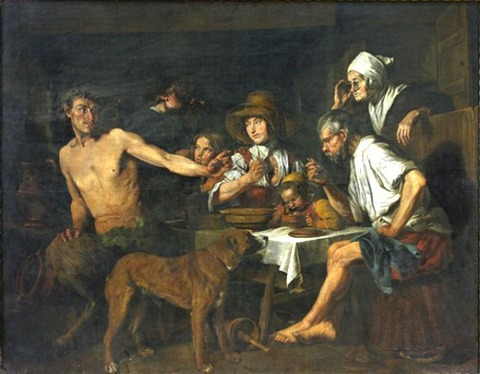 Jan Cossiers The Satyr and the Peasant Family 17th