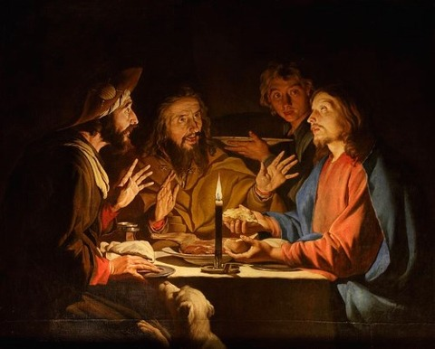 Supper at Emmaus with candlelight by Matthias Stom