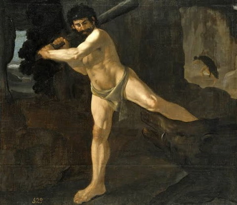 Hercules Fighting Boar Erymanthian Francisco De Zurbaran