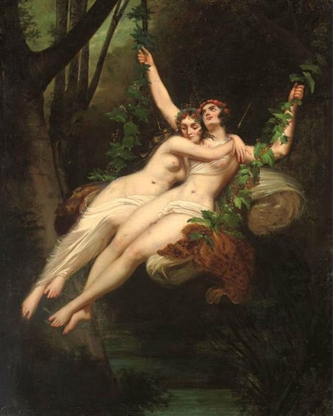 Sappho and Ariadne by French School  19th