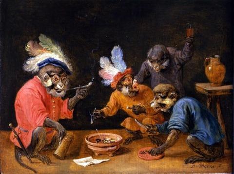 monkeys in a tavern David Teniers (1610-1690)