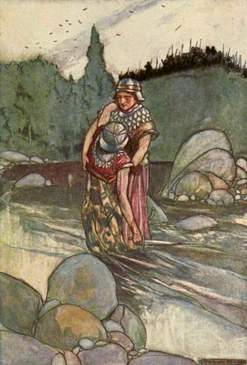 Ferdia Falls at the Hand of Cuchulain  Stephen Reid 1904