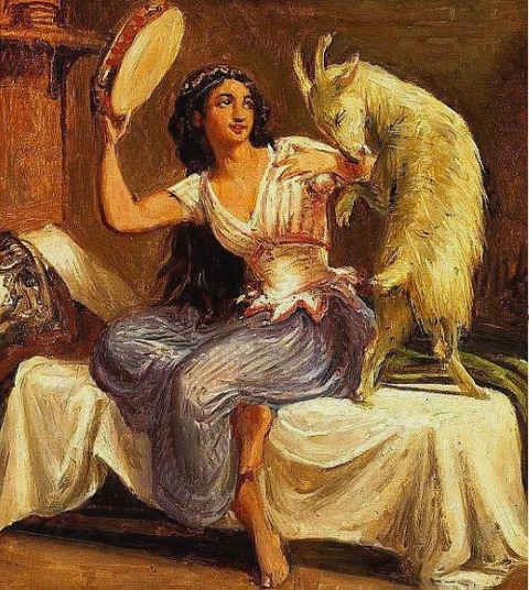 Esmeralda and Djali by Wilhelm Marstrand