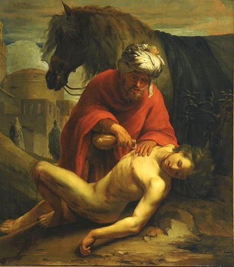 Nicolaes Roosendael -Samaritan heals the traveller 1665