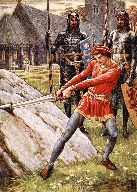 Arthur Draws The Sword From The Stone  Walter Crane