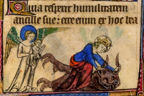 tackles the devil  Taymouth Hours  1325–40