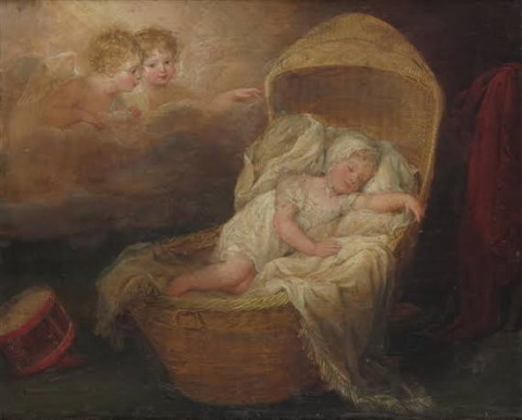 A child sleeping watched by angels British School, 19th