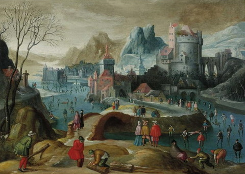 Flemish School, 17th  A winter landscape with skaters ice