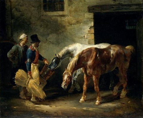 Two post-horses at the stable (1823)