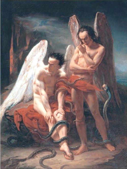 悪魔の絵画二人の堕天使