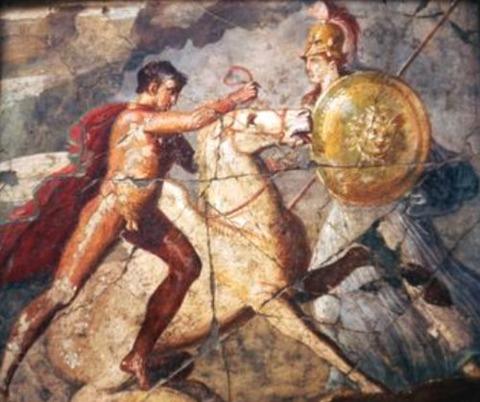 Bellerophon Pegasus Roman Wallpainting Pompeii 1st