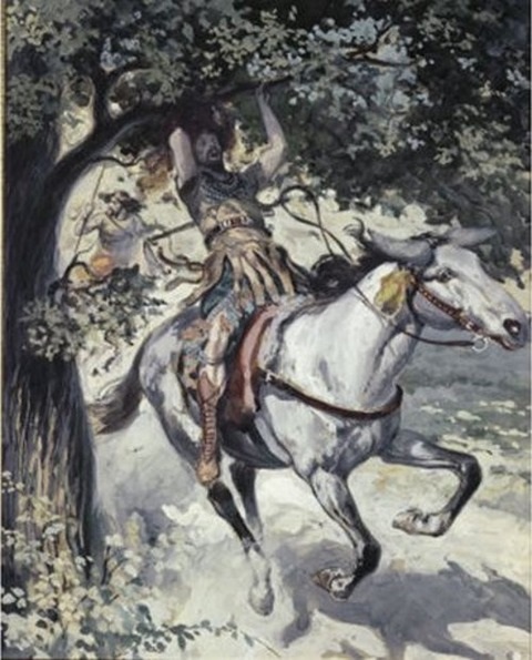 Absalom hanging on the oak tree b y J James Tissot