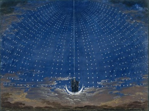 Stage set for the Queen Night Karl Friedrich Schinkel 1815