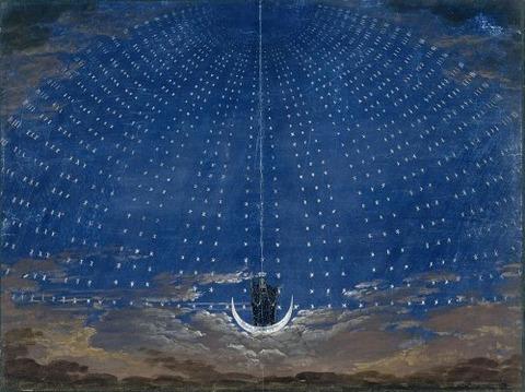 Stage set for the Queen Night Karl Friedrich Schinkel 1815