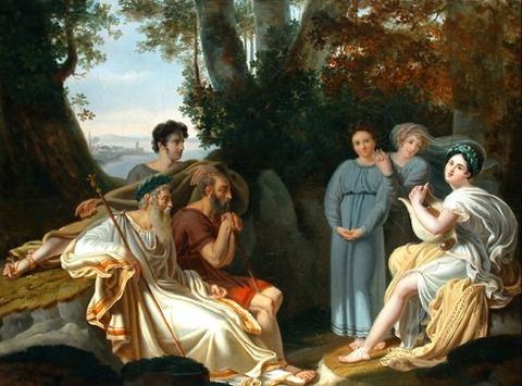 Charles Nicolas Rafael Lafond Sappho sings for Homer 1824