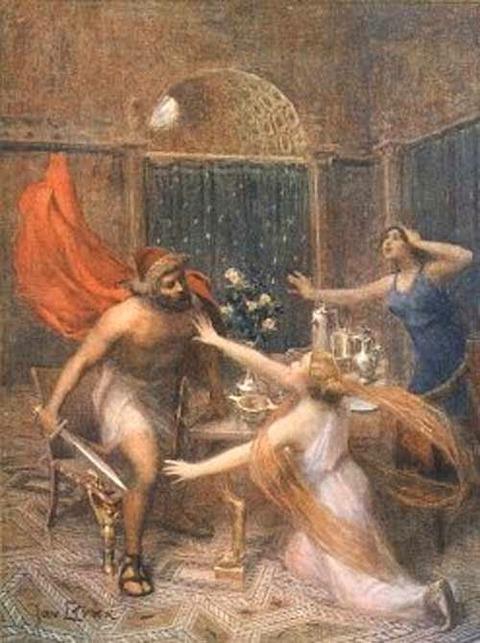 Jan Styka - Odysseus threatening Circe
