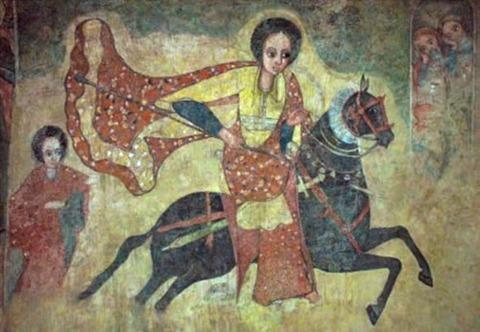 The Queen of Sheba from Ethiopian fresco 1100-1200
