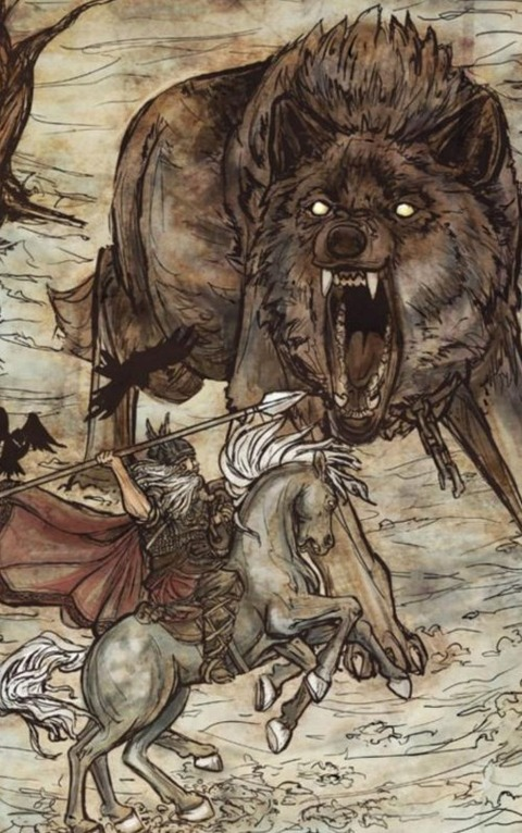 Odin and Fenrir by Arthur Rackham