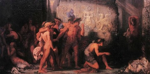Gustave Moreau Athenians Delivered to the Minotaur, 1855