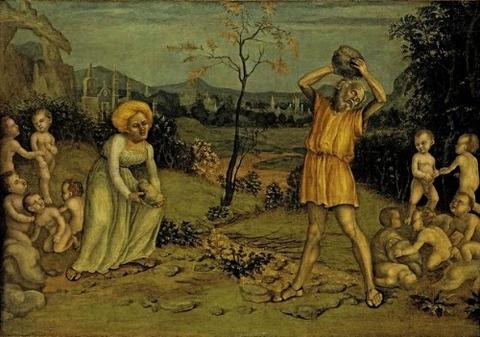 Deucalion and Pyrrha, Niccolò Giolfino,1550