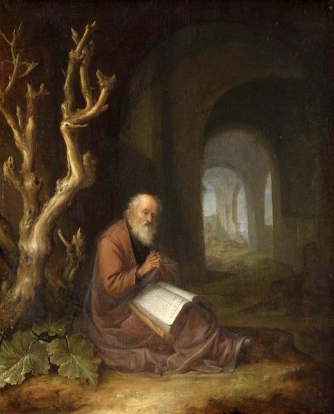 Jan Adriaensz van Staveren hermit praying  ruin 1650 – 68
