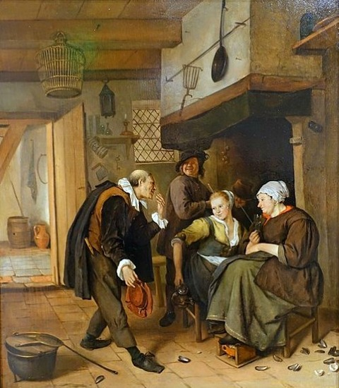 A Gallant Old Man Courting a Young Woman, by Jan Steen  1665