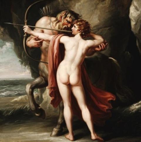 Chiron instructing Achilles  bow 1776 Giovanni Battista Cipriani