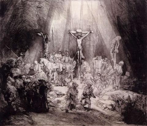 Las tres Cruces 1653 Aguafuerte punta seca Rembrandt