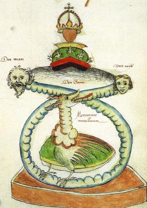 Mercurius as Man Woman Serpent Alchemy 1550