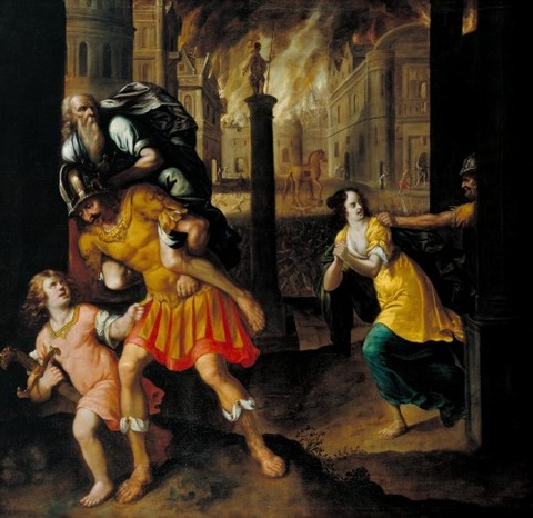 Henry Gibbs Aeneas and his Family Fleeing Burning Troy 1654