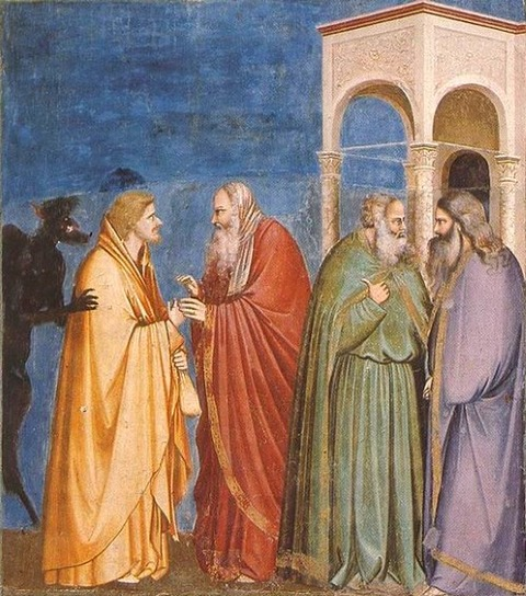 Giotto - Scrovegni -Judas Receiving Payment for his Betrayal