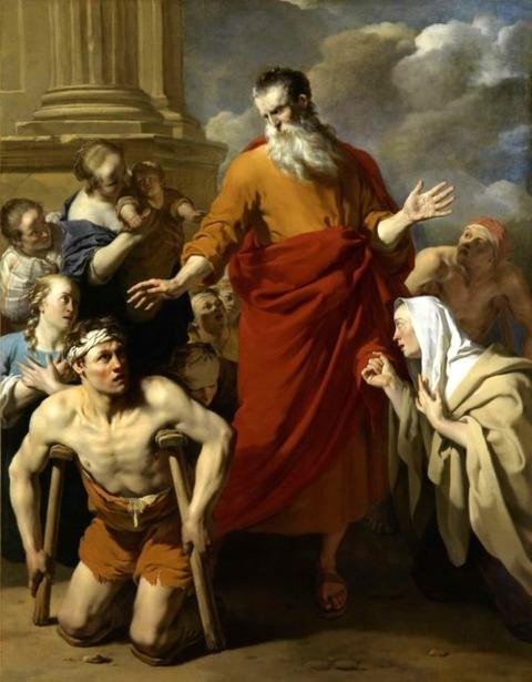 St Paul Healing the Cripple at Lystra. 1663 Karel Dujardin