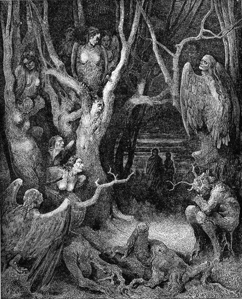 Harpies in the infernal wood  Inferno by Gustave Doré 1861