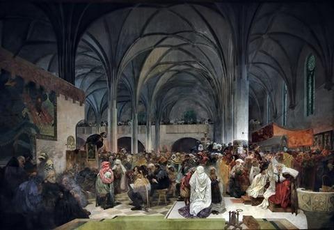 Alfons Mucha 1916 Jan Hus Preaching Bethlehem Chapel