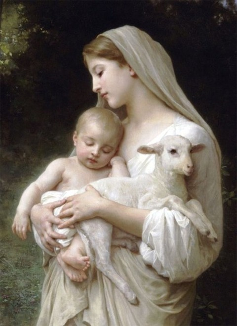 Madonna and Child plus lamb William Bouguereau