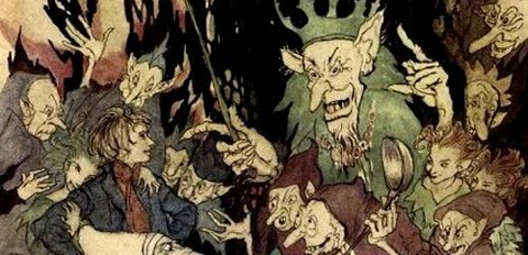 Arthur Rackham -Peer before the King of Trolls -