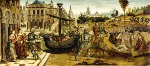 Master of the Campana Cassoni 1500-25 Theseus and the Minotaur