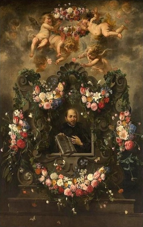 Cornelis Schut the Elder 1597-1655 Ignatius Loyola in a wreath