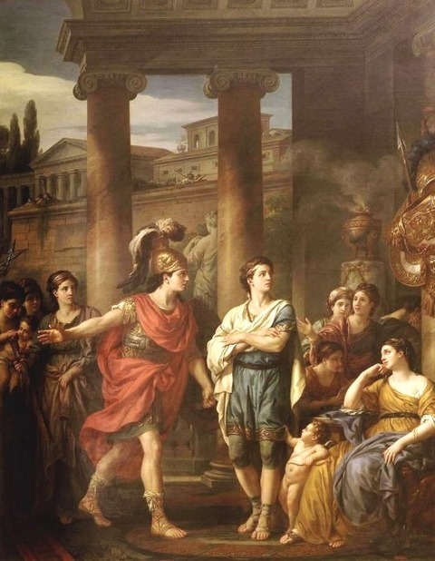 Hector determines Paris to take up arms 18th Joseph Marie Vien