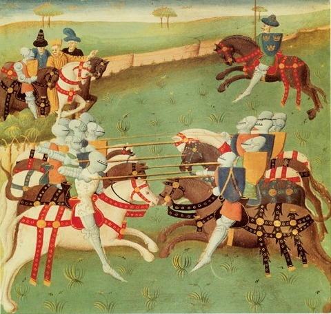 Teaching Knights To Joust by French School 1400