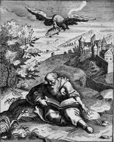 17th century engraving of the death of Aeschylus