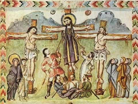Crucifixion miniature, Rabula Gospels legend Loginos