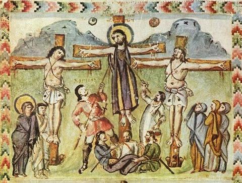 Crucifixion miniature, Rabula Gospels legend Loginos
