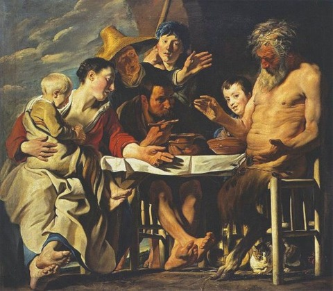 Jacob Jordaens The Satyr and the Peasant 1620