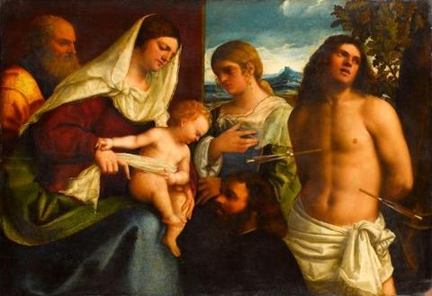 St. Catherine, St. Sebastian a Donor Sebastiano LUCIANI 1507-8