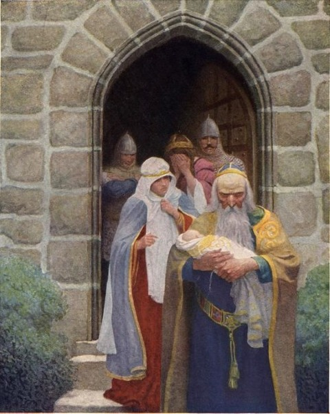 NC Wyeth - Merlin taking away the infant Arthur